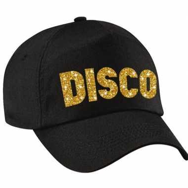 Vintage disco pet /cap zwart met gouden bedrukking volwassenen