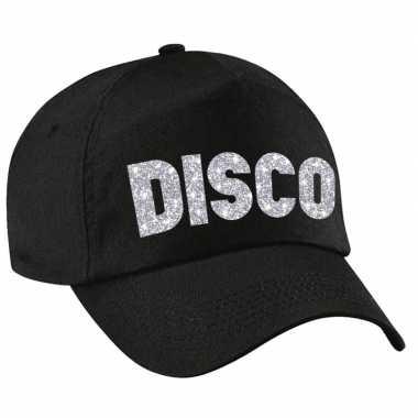 Vintage disco pet /cap zwart met zilver bedrukking volwassenen
