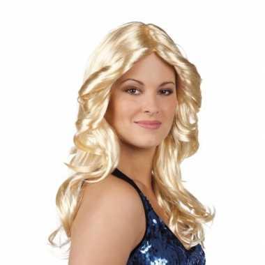 Vintage disco pruik blond met krullen
