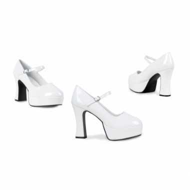 Vintage disco schoenen voor dames wit met hoge hak