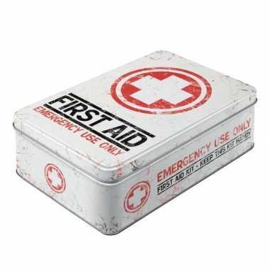 Vintage first aid bewaarblik 23 cm