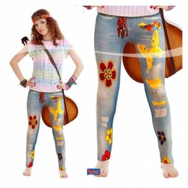 Vintage flower power legging voor dames