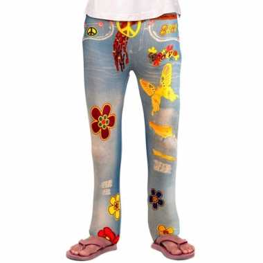 Vintage flower power legging voor meiden
