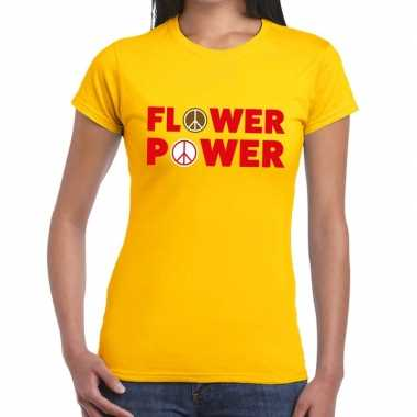 Vintage flower power tekst t-shirt geel dames