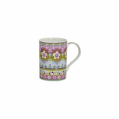 Vintage flowers de luxe mok/beker roze 300 ml