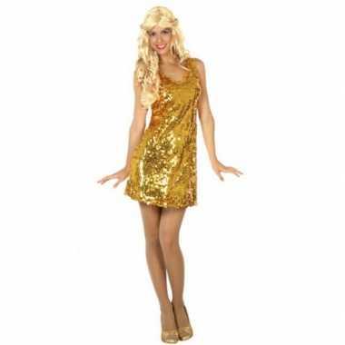 Vintage goud glitterjurkje met pailletten