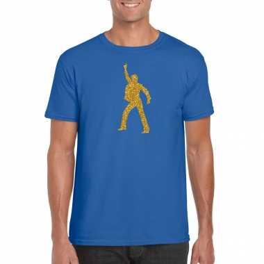 Vintage gouden disco t-shirt / kleding blauw voor heren