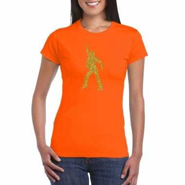 Vintage gouden disco t-shirt / kleding oranje voor dames