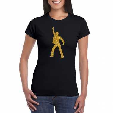Vintage gouden disco t-shirt / kleding zwart voor dames