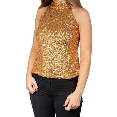 Vintage gouden glitter pailletten disco halter topje/ shirt dames