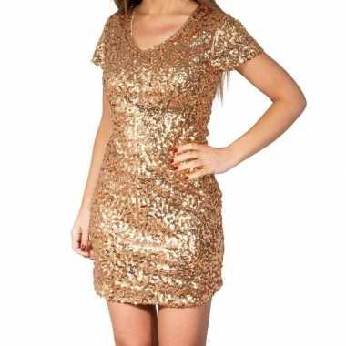 Vintage gouden glitter pailletten disco jurkje dames