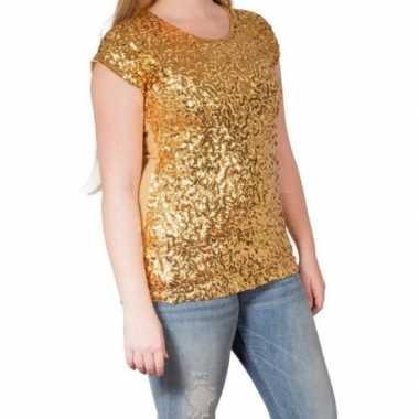 Vintage gouden glitter pailletten disco shirt dames l/xl