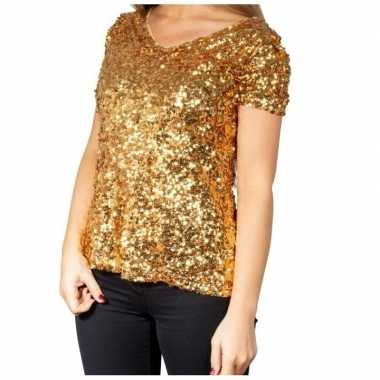 Vintage gouden glitter pailletten disco shirt dames