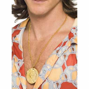 Vintage gouden indianen/hippie medallion aan ketting