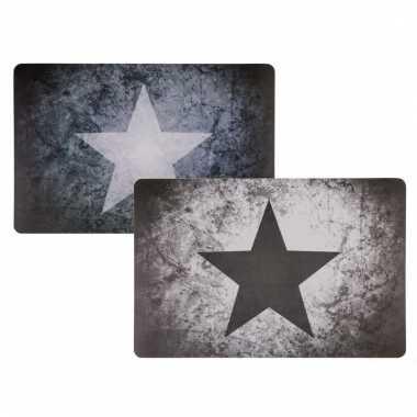 Vintage grijze placemat met ster type 2