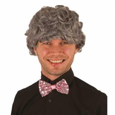 Vintage grijze pruik voor heren verkleed accessoire