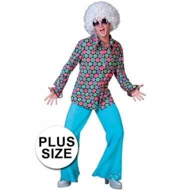 Vintage grote maat retro disco blouse met stippen