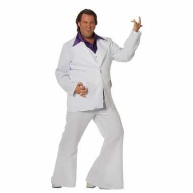Vintage grote maat wit disco pak voor heren