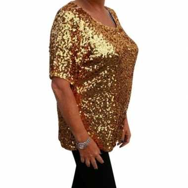 Vintage grote maten gouden glitter pailletten disco shirt dames xl