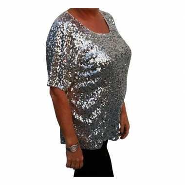 Vintage grote maten zilveren glitter pailletten disco shirt dames xl