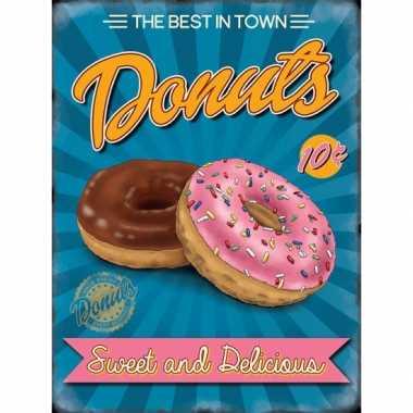 Vintage grote muurplaat donuts 30x40cm