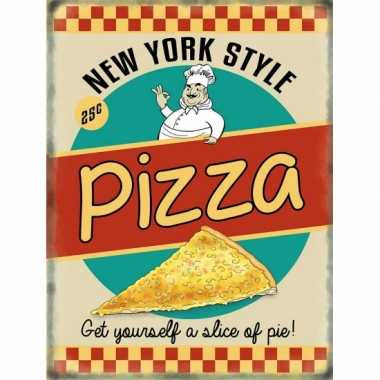 Vintage grote muurplaat pizza 30x40cm