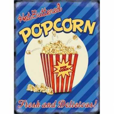 Vintage grote muurplaat popcorn 30x40cm