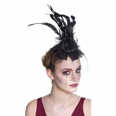 Vintage halloween haarband zwarte roos met sluier