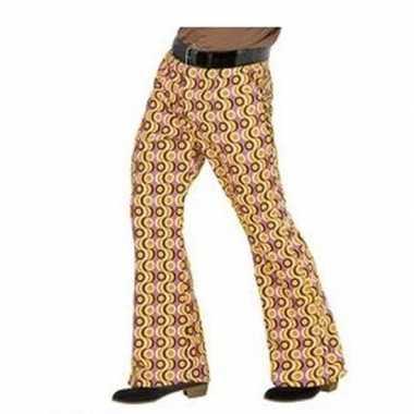 Vintage heren hippie broek met retro print maat xxl