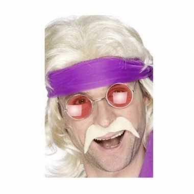 Vintage hippie accessoires verkleedset snor met bril