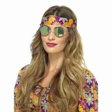 Vintage hippie bril groene spiegelglazen voor volwassenen