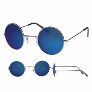 Vintage hippie bril zilver met ronde blauwe glazen voor volwassenen