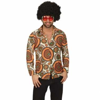 Vintage hippie cirkel overhemd voor heren