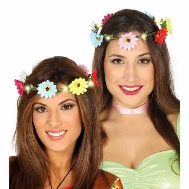 Vintage hippie/flower power verkleed bloemen hoofd krans voor dames