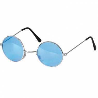 Vintage hippie / flower power verkleed bril blauw
