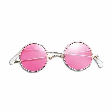 Vintage hippie / flower power verkleed bril roze