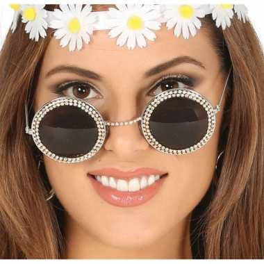 Vintage hippie/flower power verkleed zonnebril met ronde glazen