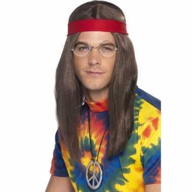Vintage hippie heren verkleed kit deluxe