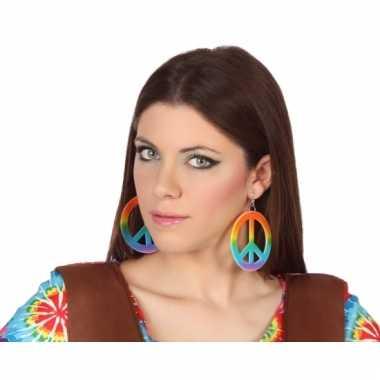 Vintage hippie oorbellen gekleurd