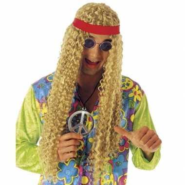 Vintage hippie pruik met hoofdband