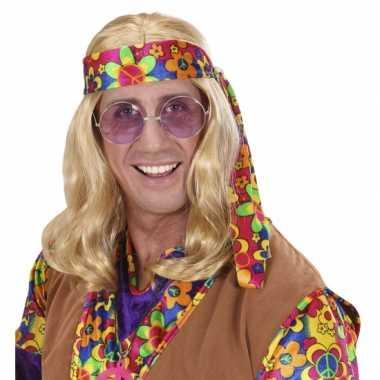 Vintage hippie pruik met lang blond haar