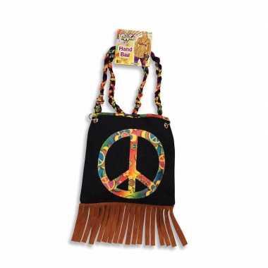 Vintage hippie schoudertas peace