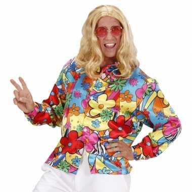 Vintage hippie shirt met bloemen