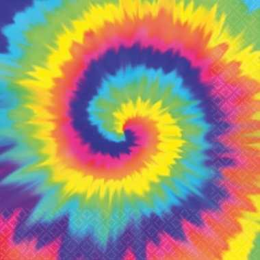 Vintage hippie thema tie dye servetten 16 stuks