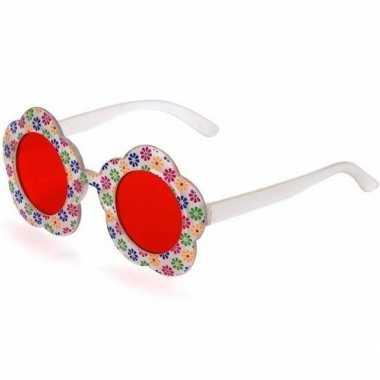 Vintage hippie verkleed bril met rode glazen voor volwassenen