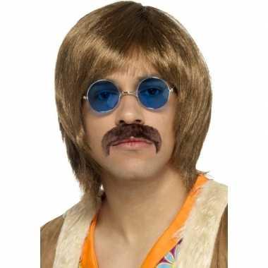 Vintage hippie verkleed pruik, snor en bril setje voor heren