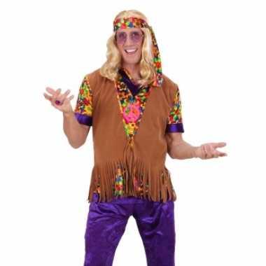Vintage hippie vest met franjes en hoofdband voor heren