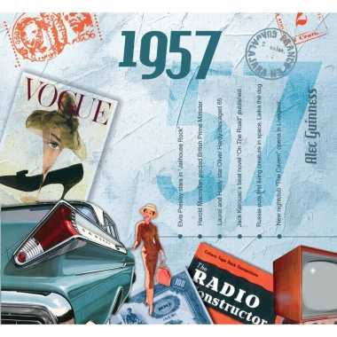 Vintage historische verjaardag cd-kaart 1957