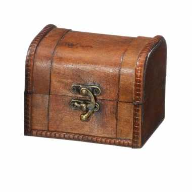 Vintage houten opbergkistje donkerbruin 11 cm