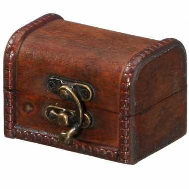 Vintage houten opbergkistje donkerbruin 8 cm